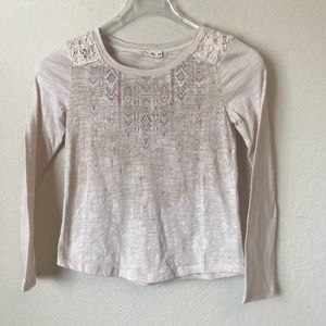 Miss Me Girls Beige Long Sleeve Top Size Large